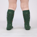 Woodland Watchers - Adorable Nature Animals Knee High Socks Green - Toddler in Black