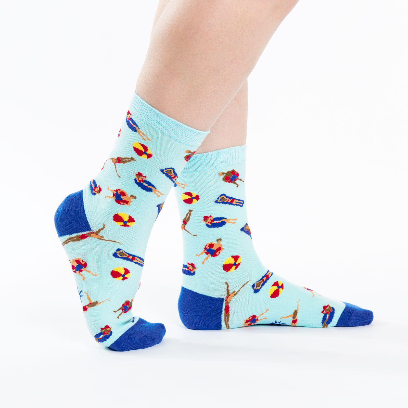 model side view of Pool Party Crew Socks Blue - Women's