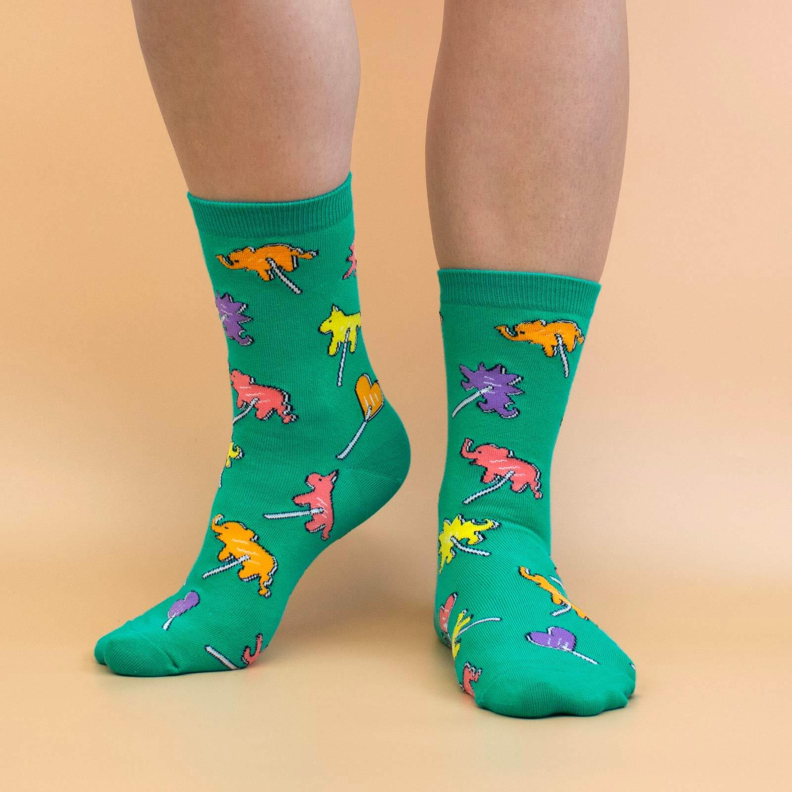 model wearing Animal Pops - Animal Candy Crew Socks Green - Women's