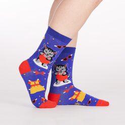 model side view of Dress Up Meow - Cat Crew Socks Blue - Women's
