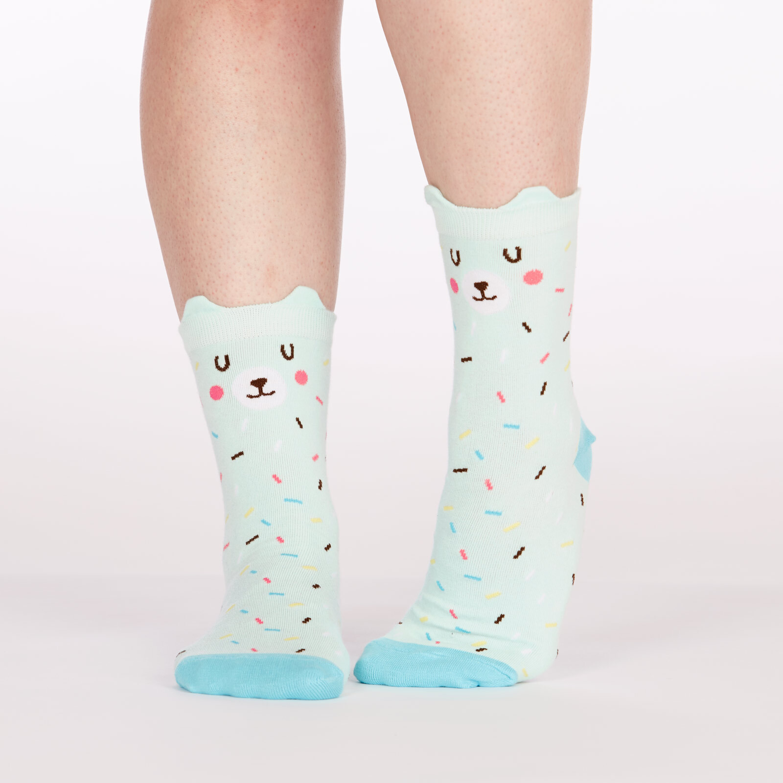 model wearing Bearly Sprinkled - Pop Up Ears - Bear Crew Socks Blue - Women's