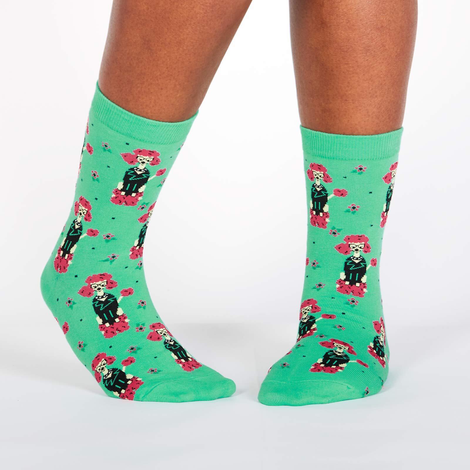 model wearing Punk Poodle Crew Socks Green - Women's
