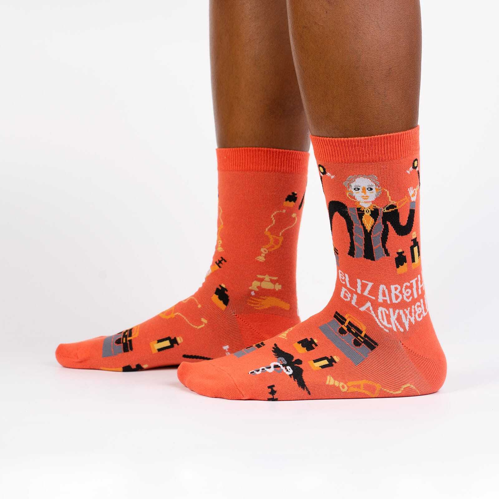 Elizabeth Blackwell - Famous Science Feminist Icons Crew Socks Orange - Women's in Orange