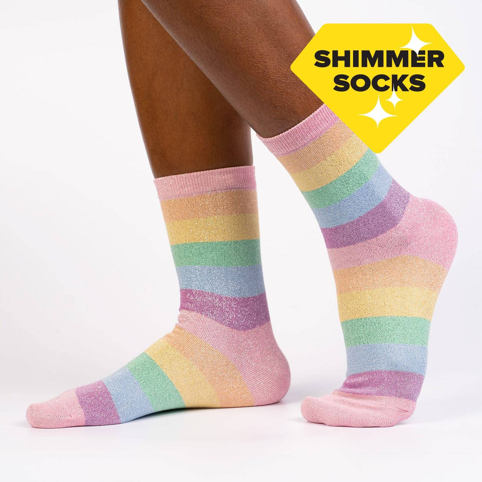 Pastel Prismatic - pastel rainbow striped shiny socks multicolor - Women's in Rainbow