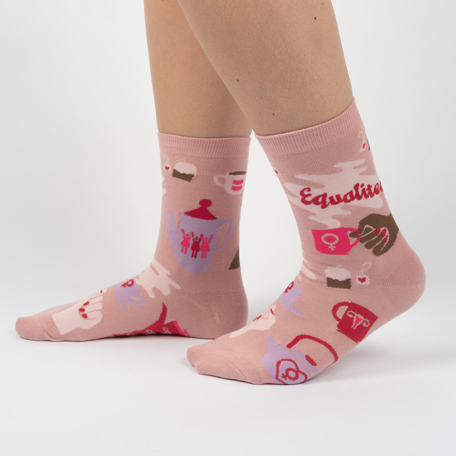 model side view of Equalitea - Patriotic Tea Time Crew Socks Pink - Women's