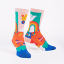 Peace and Love - Lisa Congdon Artist Crew Socks Pink - Women's in Pink