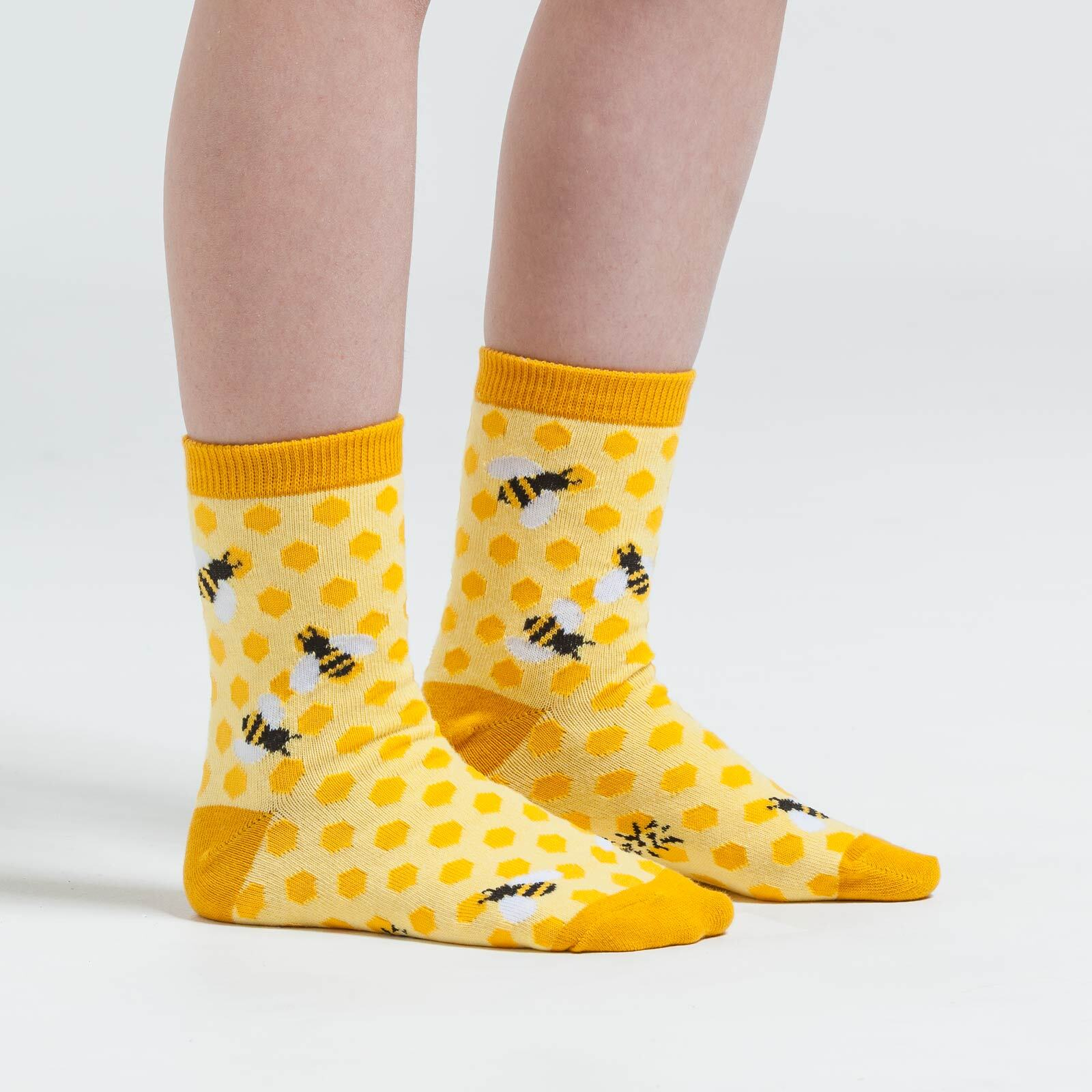model wearing Bee's Knees - Bee Crew Socks Yellow - Youth