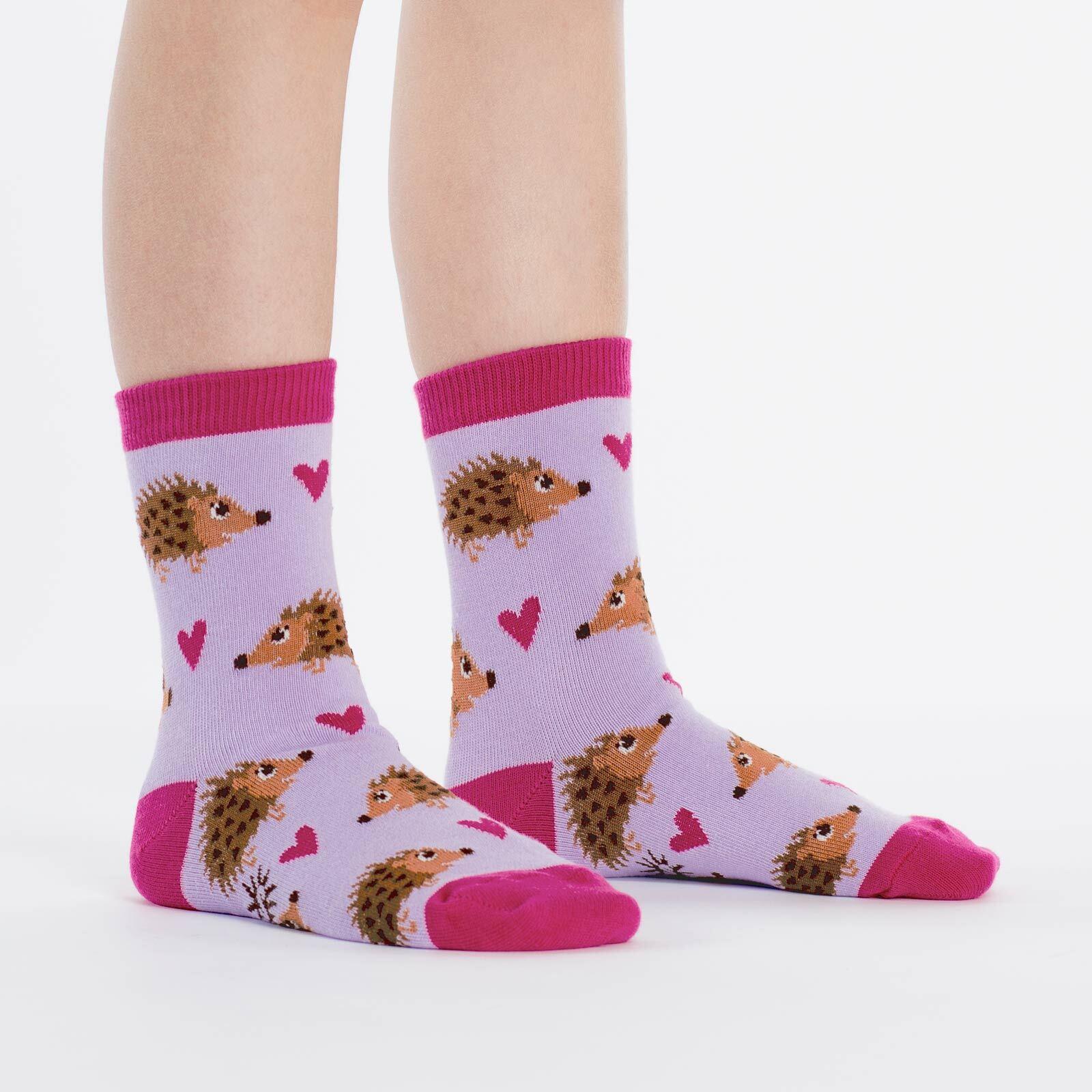 model wearing Hedgehog Heaven Crew Socks Pink - Youth