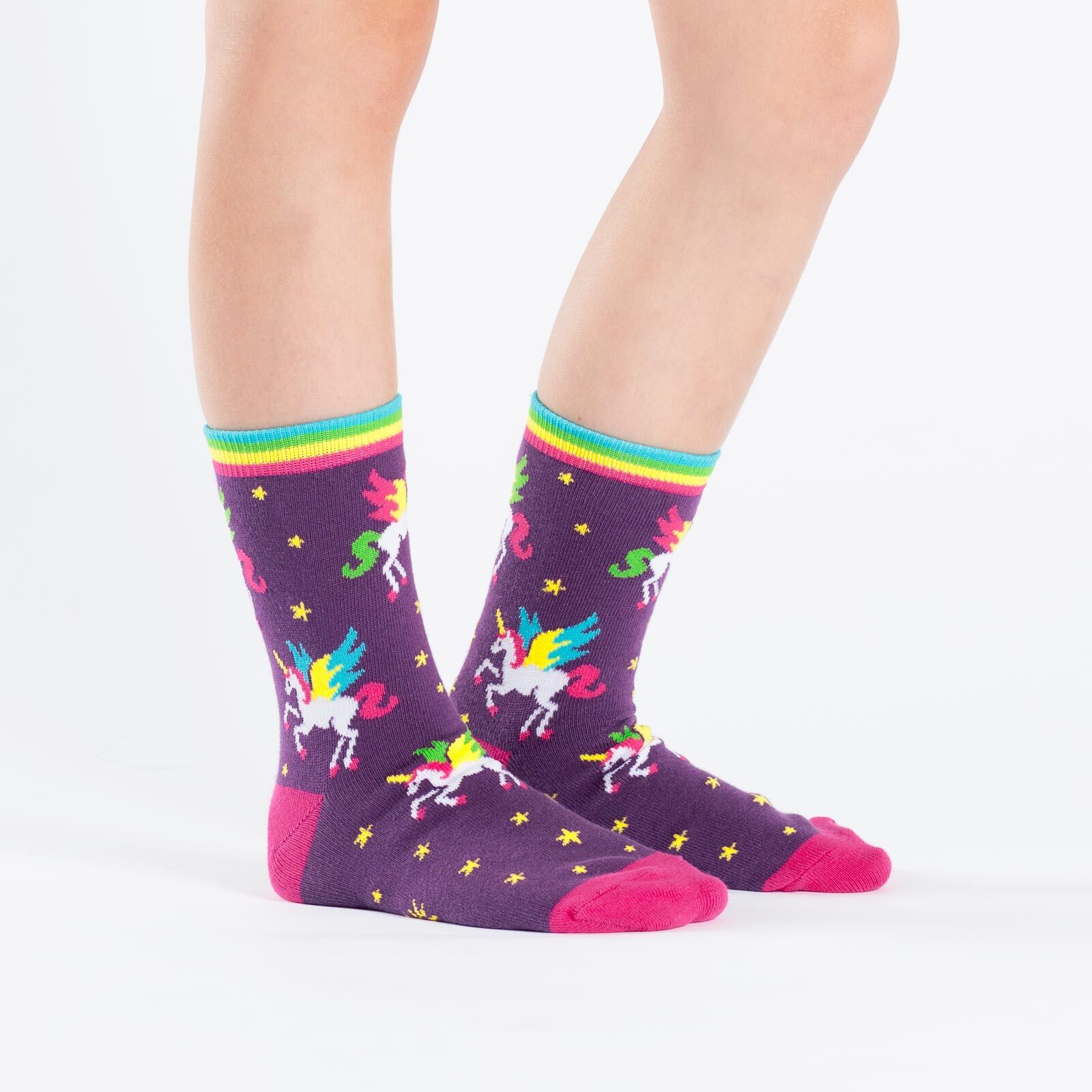 model wearing Winging It - Unicorn Crew Socks Purple - Youth
