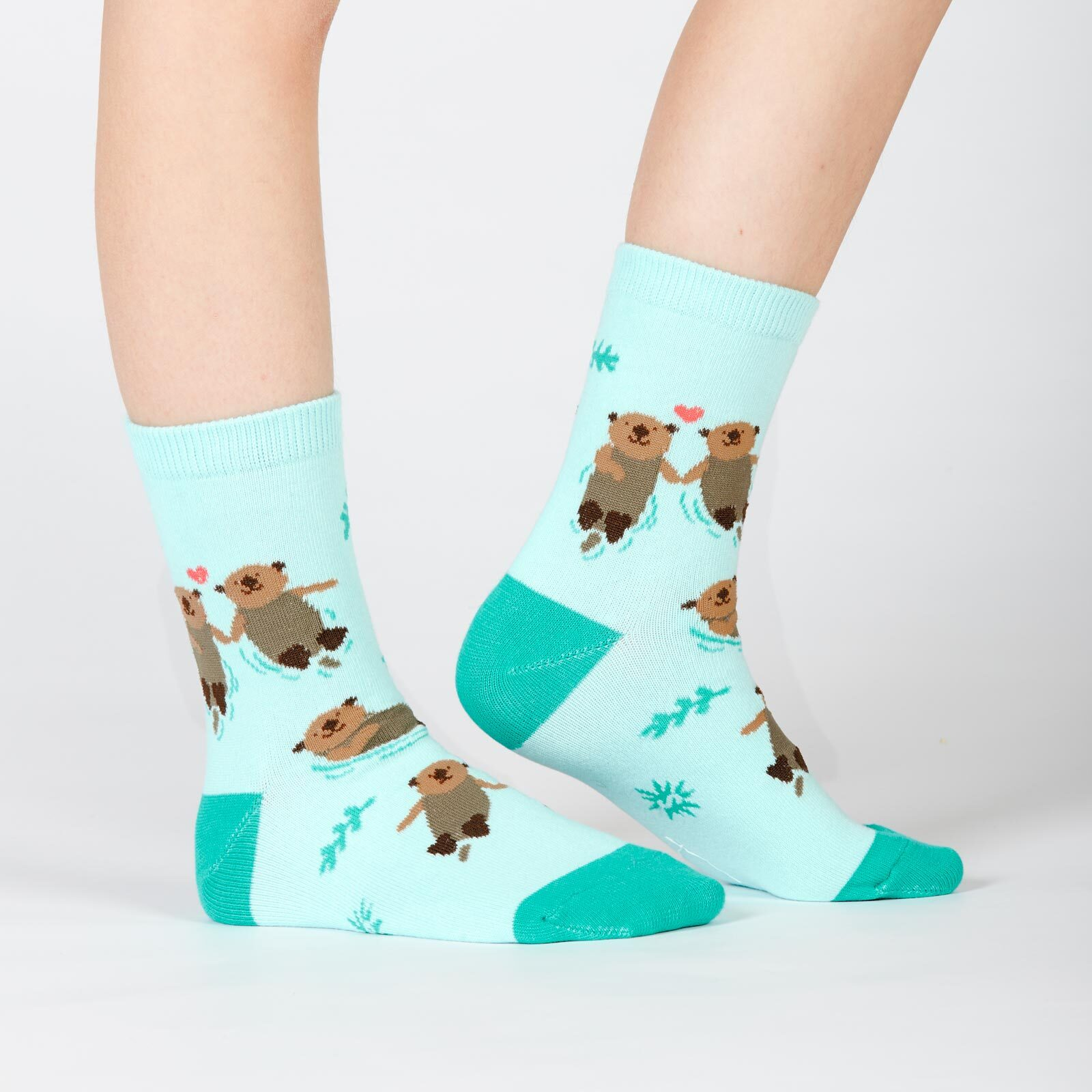 model wearing My Otter Half - Otter Crew Socks Blue - Youth