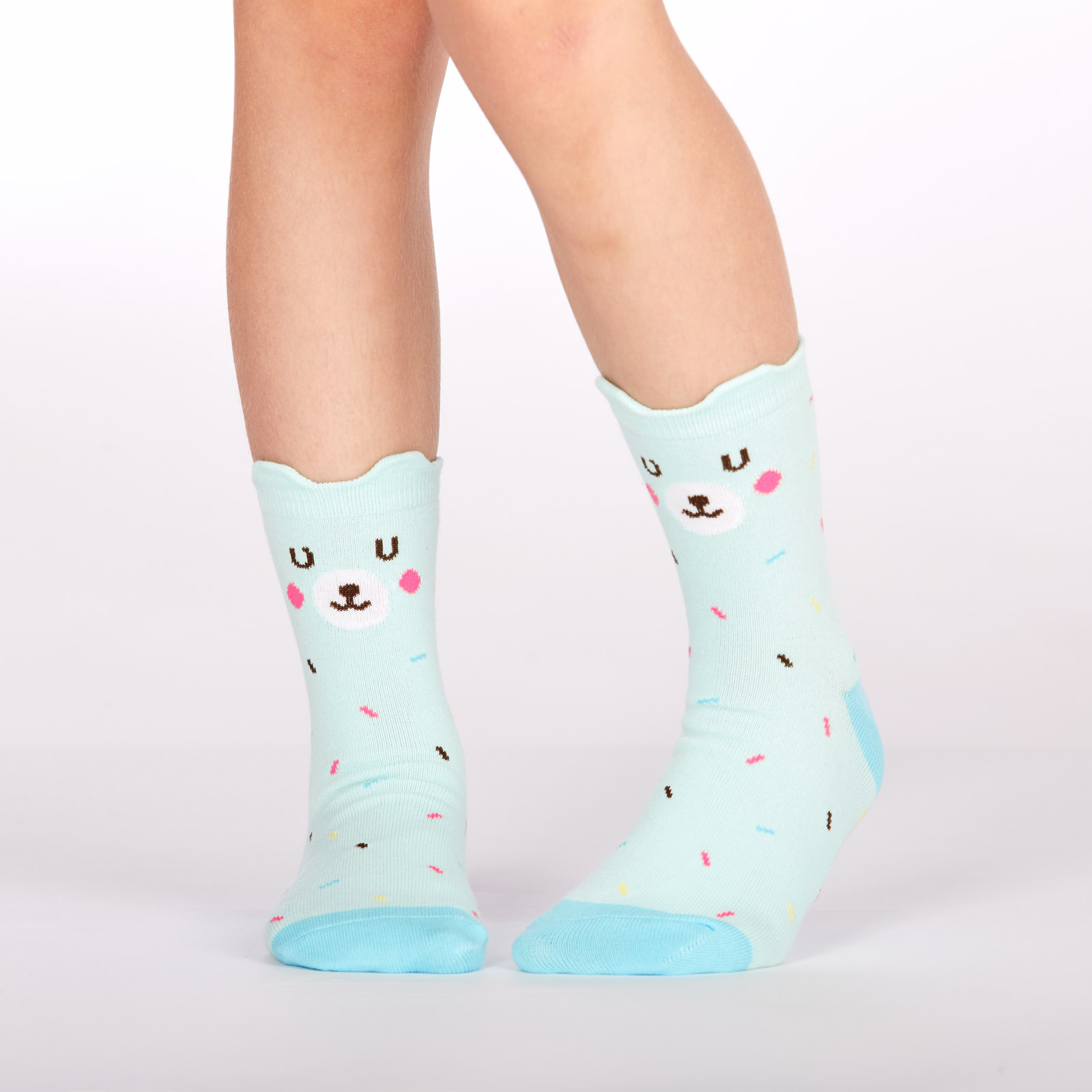 model wearing Bearly Sprinkled - Pop Up Ears - Bear Crew Socks - Youth