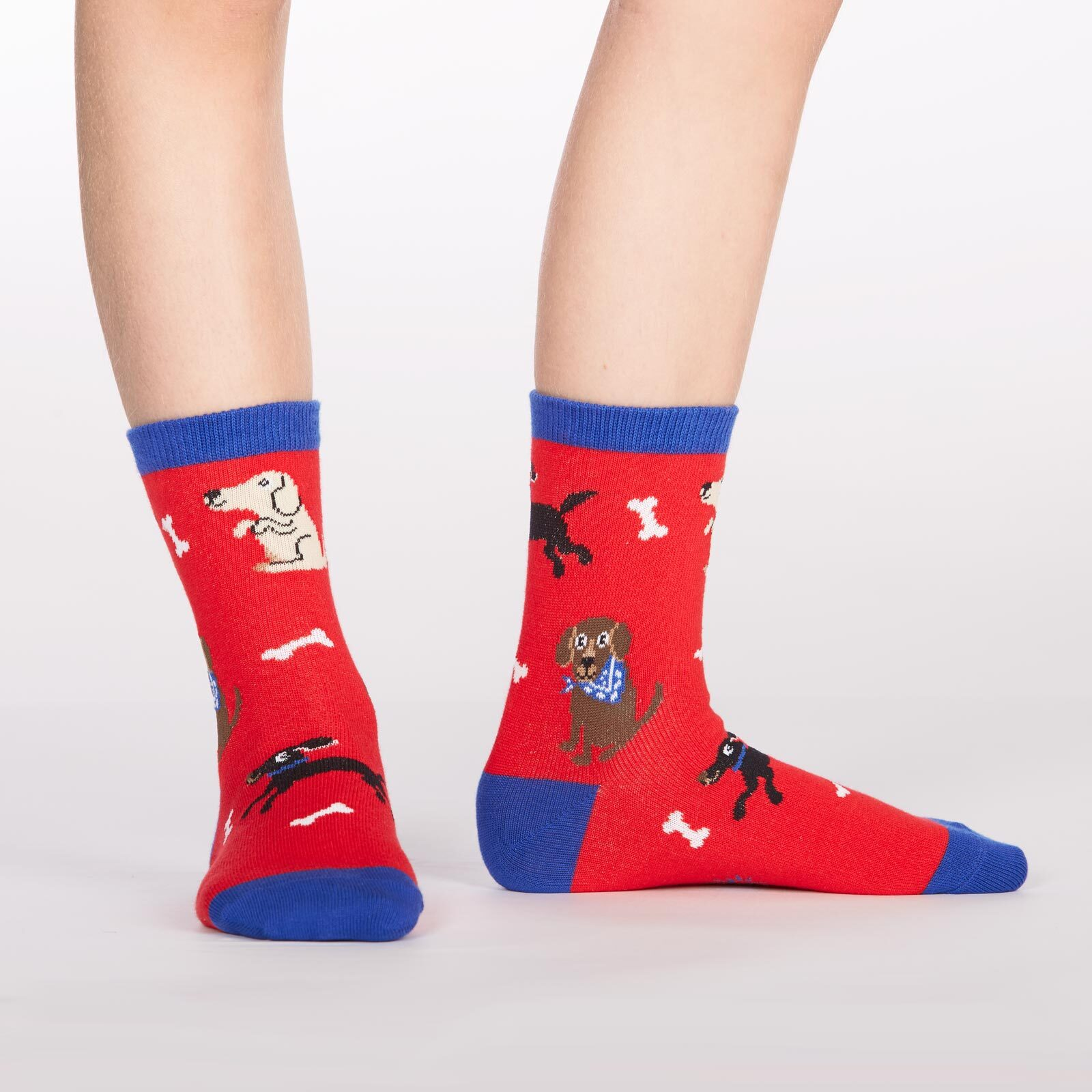 model wearing Kid's Best Friend - Dog Crew Socks Red and Blue - Youth