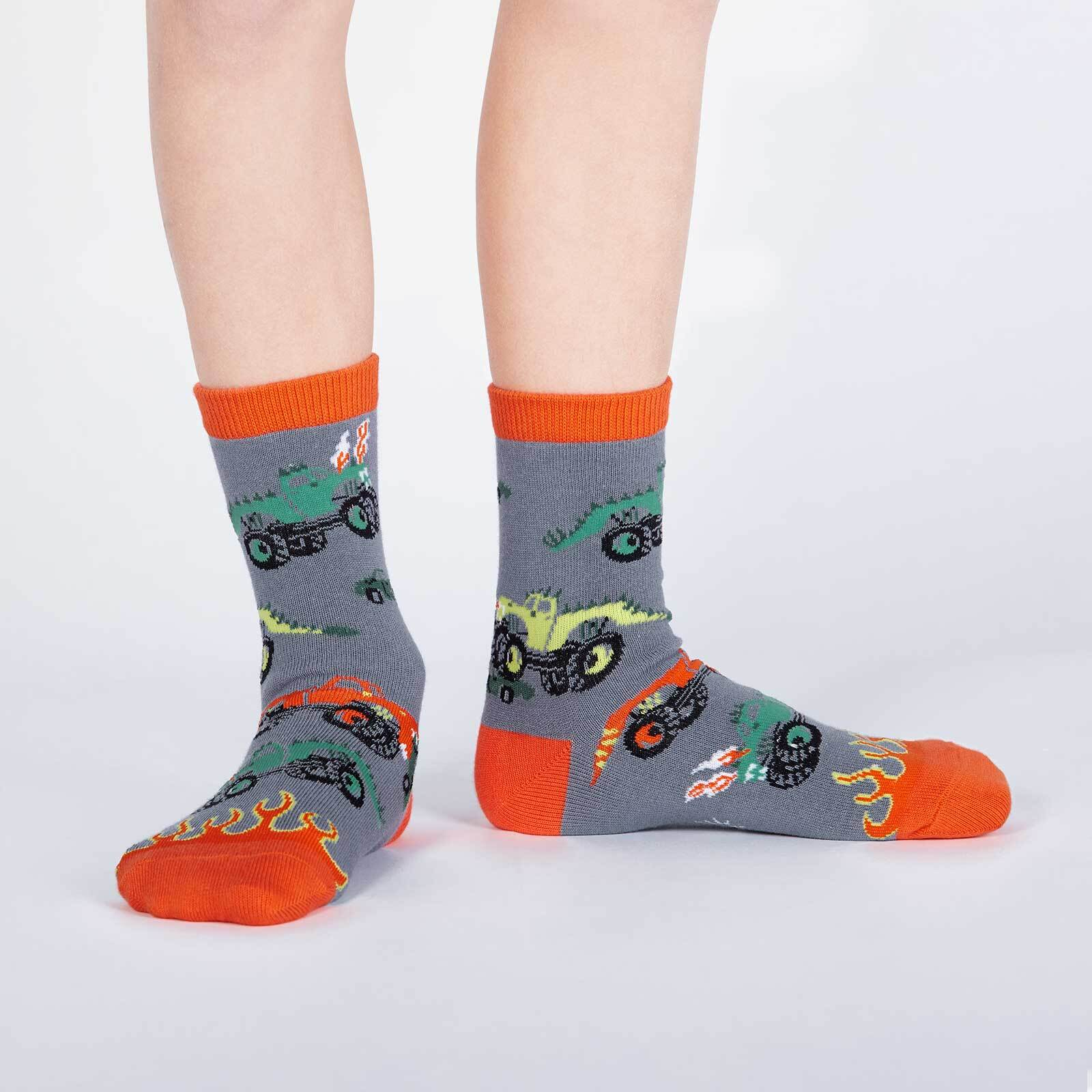 model wearing Monster Trucks Crew Socks Grey and Orange - Youth