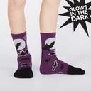 model wearing Batnado - Bat Tornado Glow in the Dark Halloween Crew Socks Purple - Youth