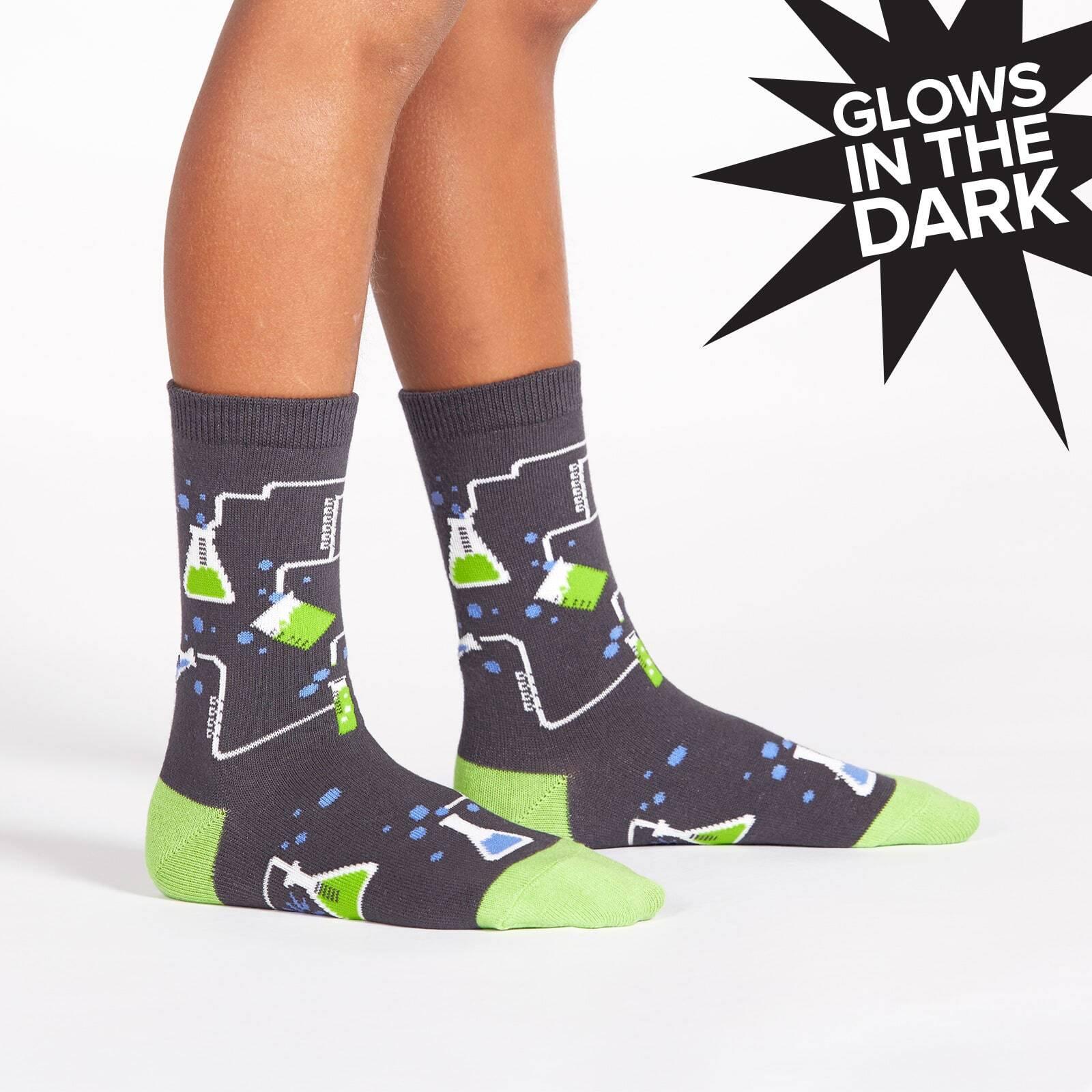 model wearing Laboratory Crew Socks - Glow In The Dark - Youth
