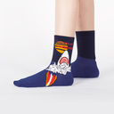 model wearing Totally Jawsome - Great White Shark Crew Socks Blue - Youth