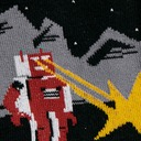 fabric detail of Zap! Zap! - Destructive Robots Dogs and UFOs Crew Socks Black - Youth