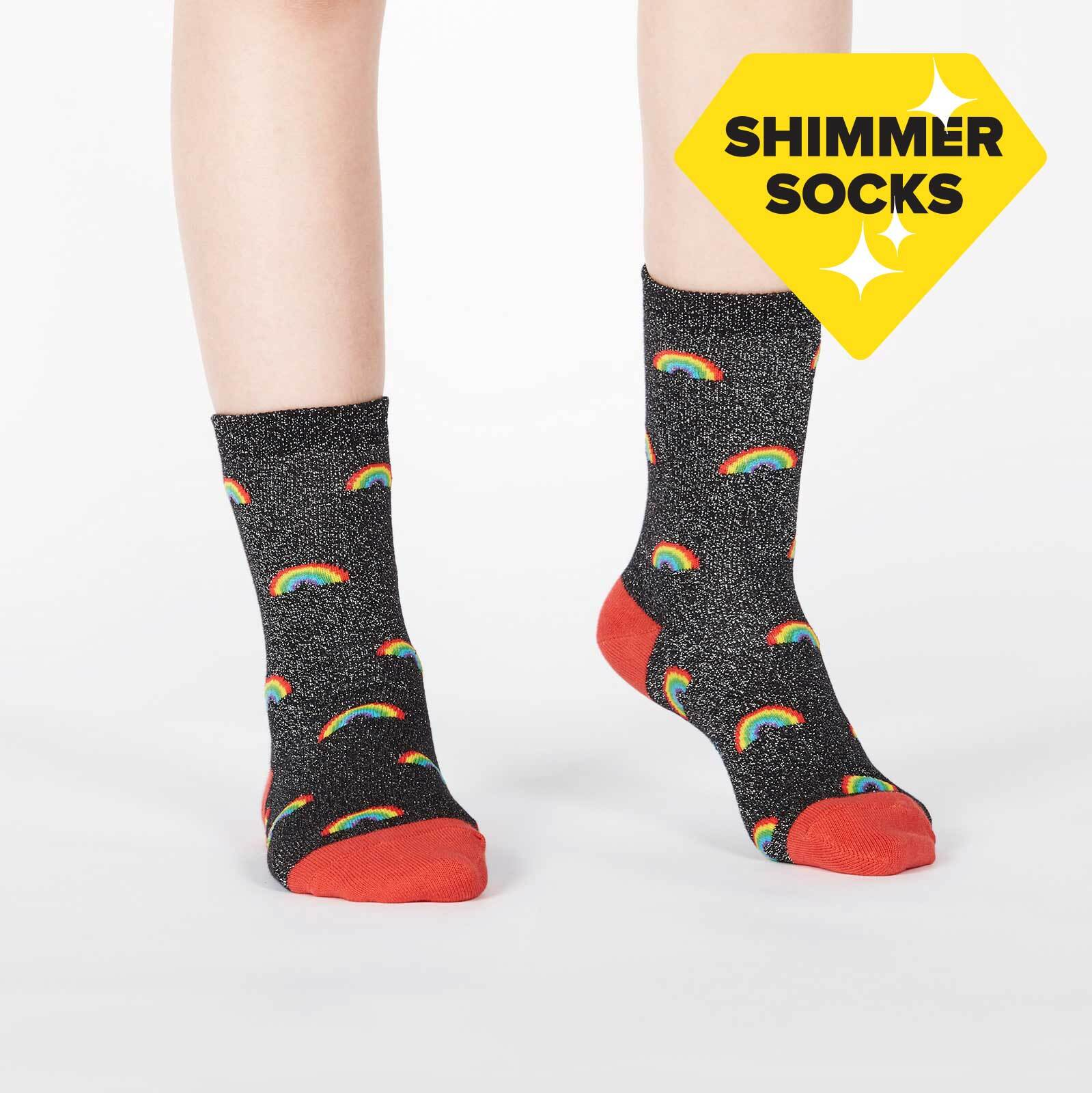 model wearing Glitter Over the Rainbow - Sparkling Shimmer Rainbow Beam Crew Socks Black - Youth