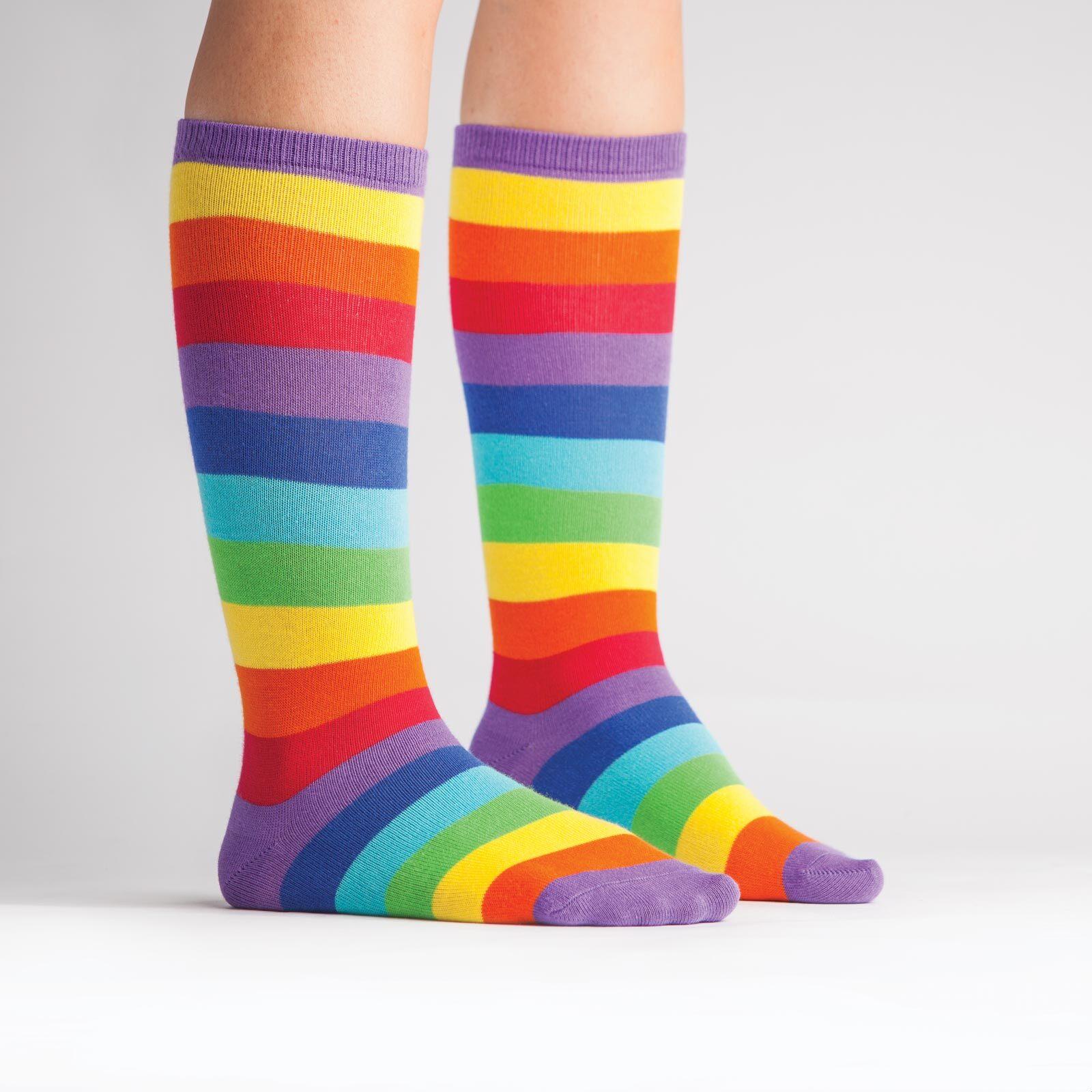 model wearing Super Juicy - Rainbow Knee High Socks - Youth