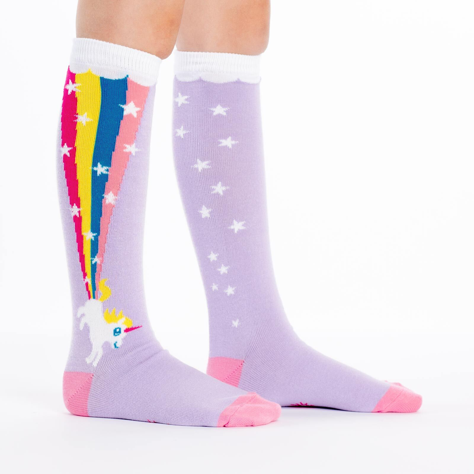 model side view of Rainbow Blast - Rainbow Unicorn Socks - Youth
