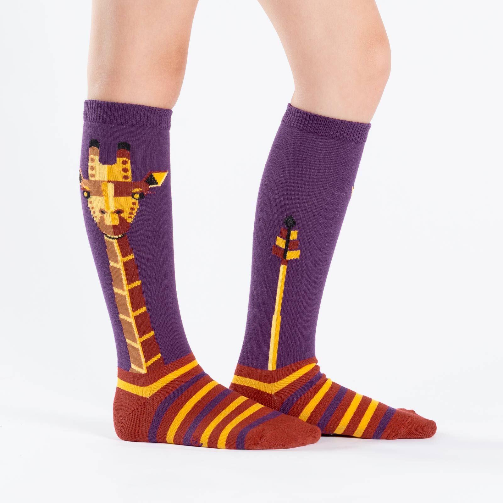 model wearing Geo-raffe - Giraffe Knee High Socks Purple - Youth
