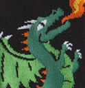 fabric detail of Spitfire - Dragon Knee High Socks Black and Orange - Youth
