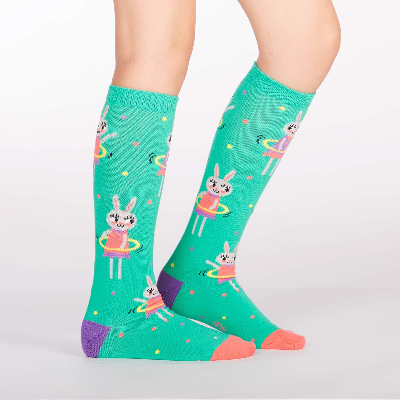 model side view of Spring Bunny - Bunny Knee High Socks Green - Youth