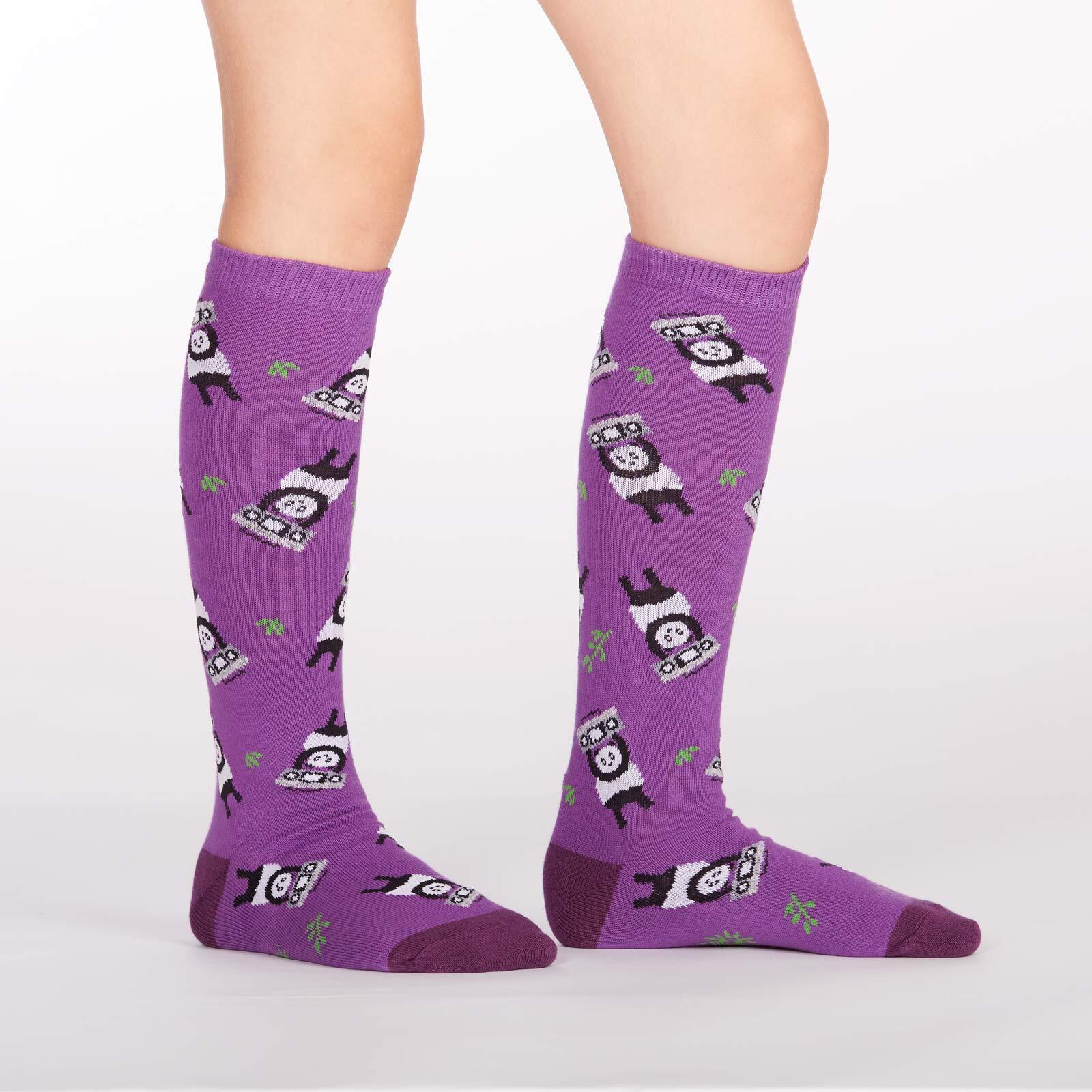 model side view of Panda Anything - Panda Knee High Socks Purple - Youth