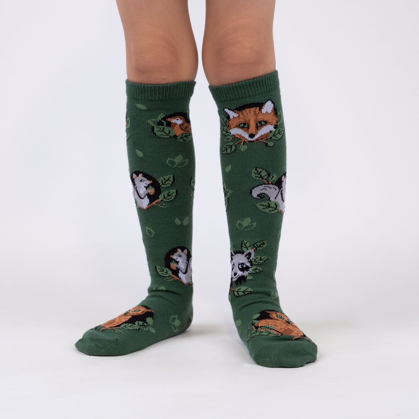 model wearing Woodland Watchers - Adorable Nature Animals Knee High Socks Green - Youth