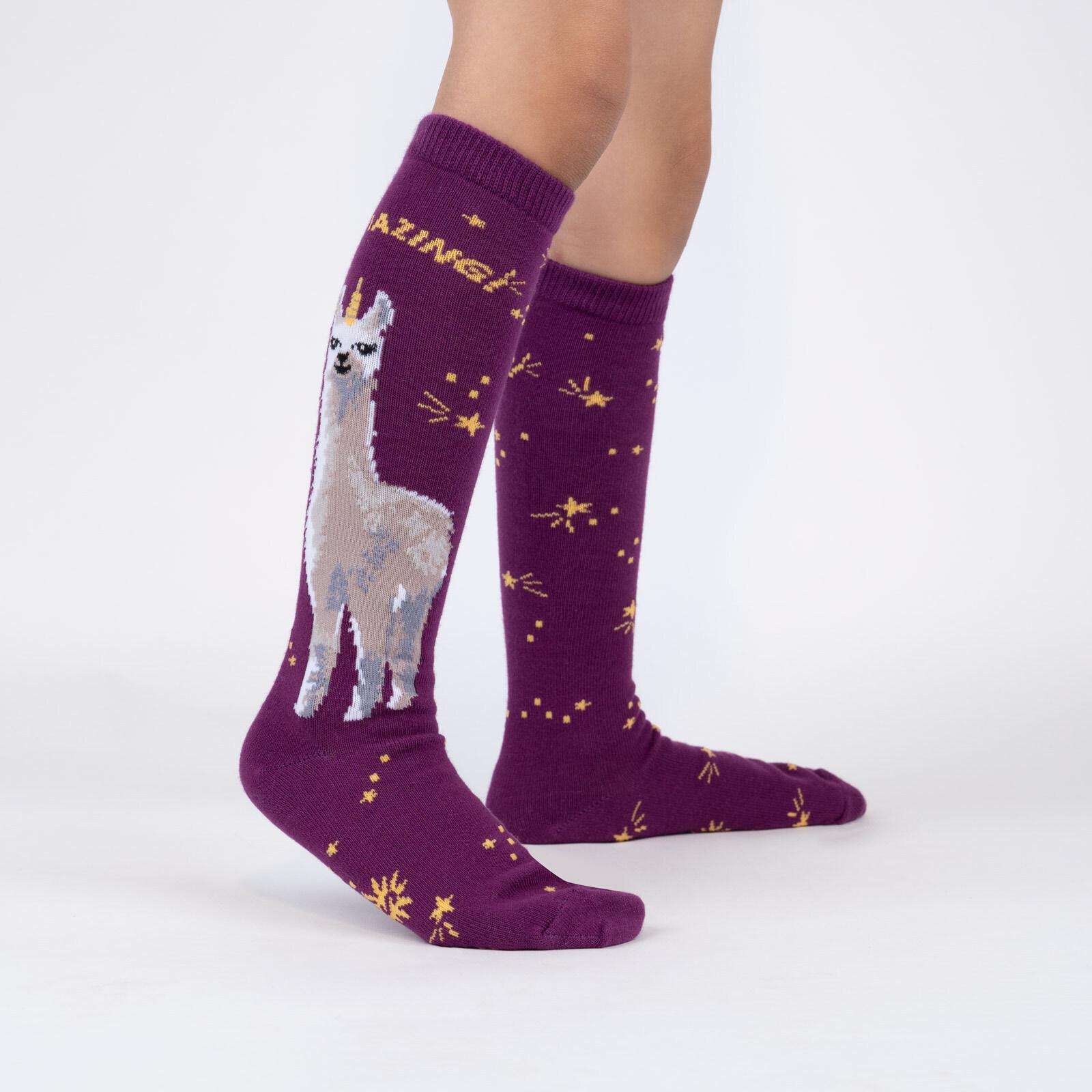 model wearing Llamazing! - Magical Llama Knee High Socks Purple - Youth