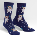 Pugston - Pugs In Space Crew Socks Blue and Brown - Women's in Navy