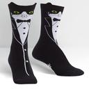 Tuxedo Cat - Pop-Up Ears - Cat Crew Socks Black and White - Women's in Black