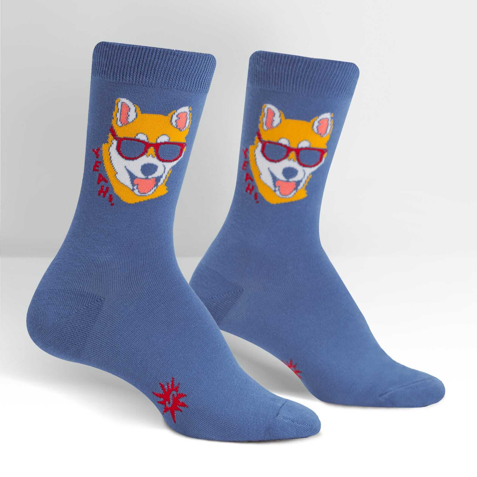 Women's Hipster Dog - Funny Shiba Inu Wearing Sunglasses Blue Women's Crew Socks - Sock It to Me in Blue