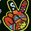 fabric detail of Dream of the '90s - Nostaglic 90's Kids Peace and Daisy Crew Socks Black - Women's