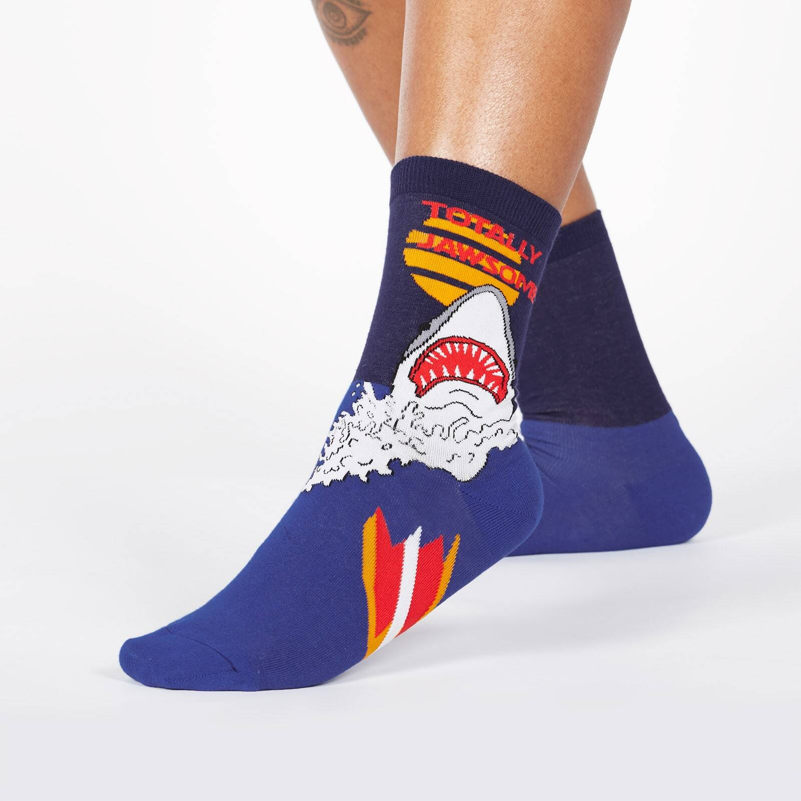 model wearing Totally Jawsome! - Great White Shark Crew Socks Blue - Women's
