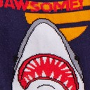 fabric detail of Totally Jawsome! - Great White Shark Crew Socks Blue - Women's