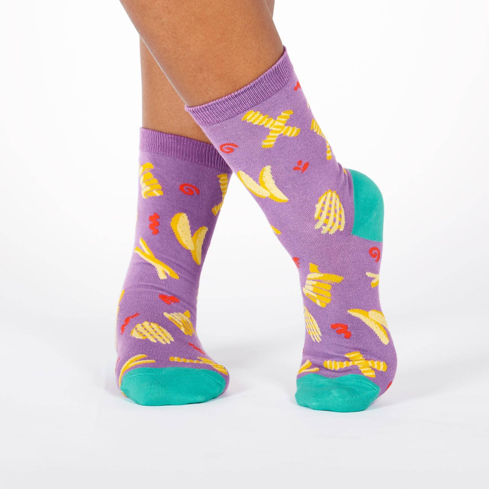 model wearing Everyday is Fry-Day - All the French Fries on Crew Socks Purple - Women's