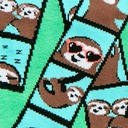 fabric detail of Oh Snap! - Fun and Silly Sloth Photo Strip Crew Socks Green - Women's