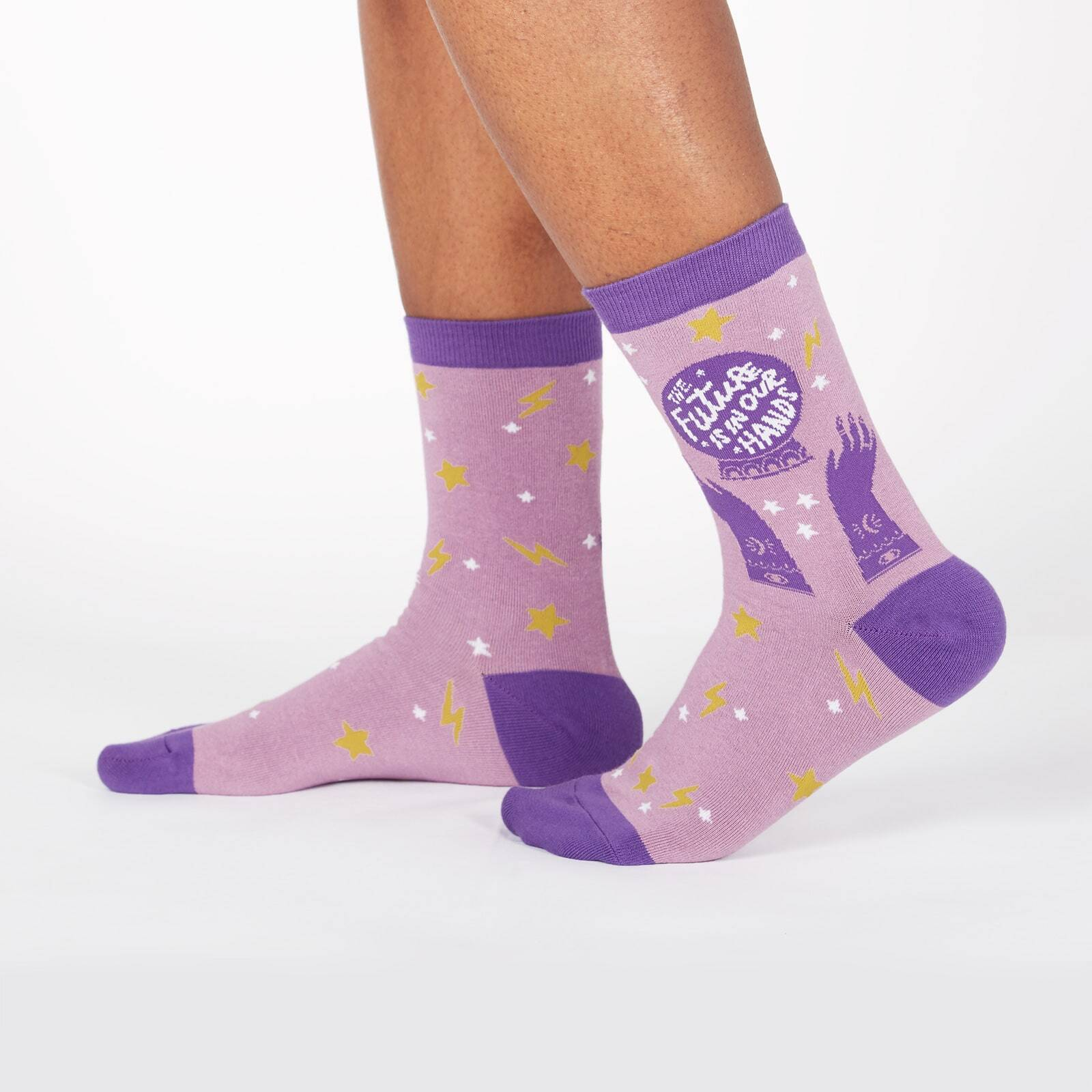 model wearing The Future Is in Our Hands - Crystal Ball Magical Crew Socks Purple - Women's