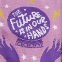 fabric detail of The Future Is in Our Hands - Crystal Ball Magical Crew Socks Purple - Women's