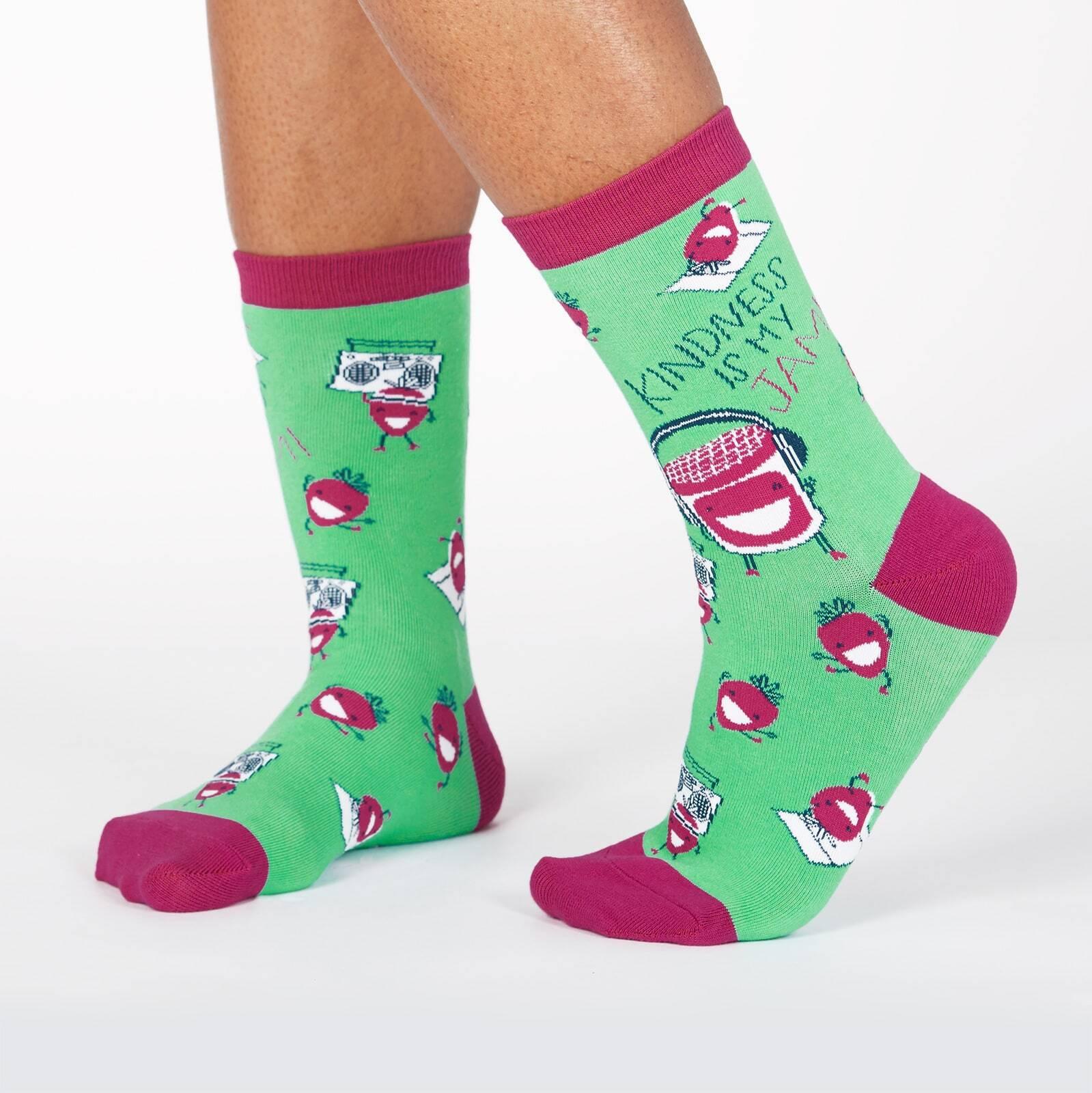 model wearing Kindness Is My Jam - Berries and Jam Dancing Crew Socks Green - Women's