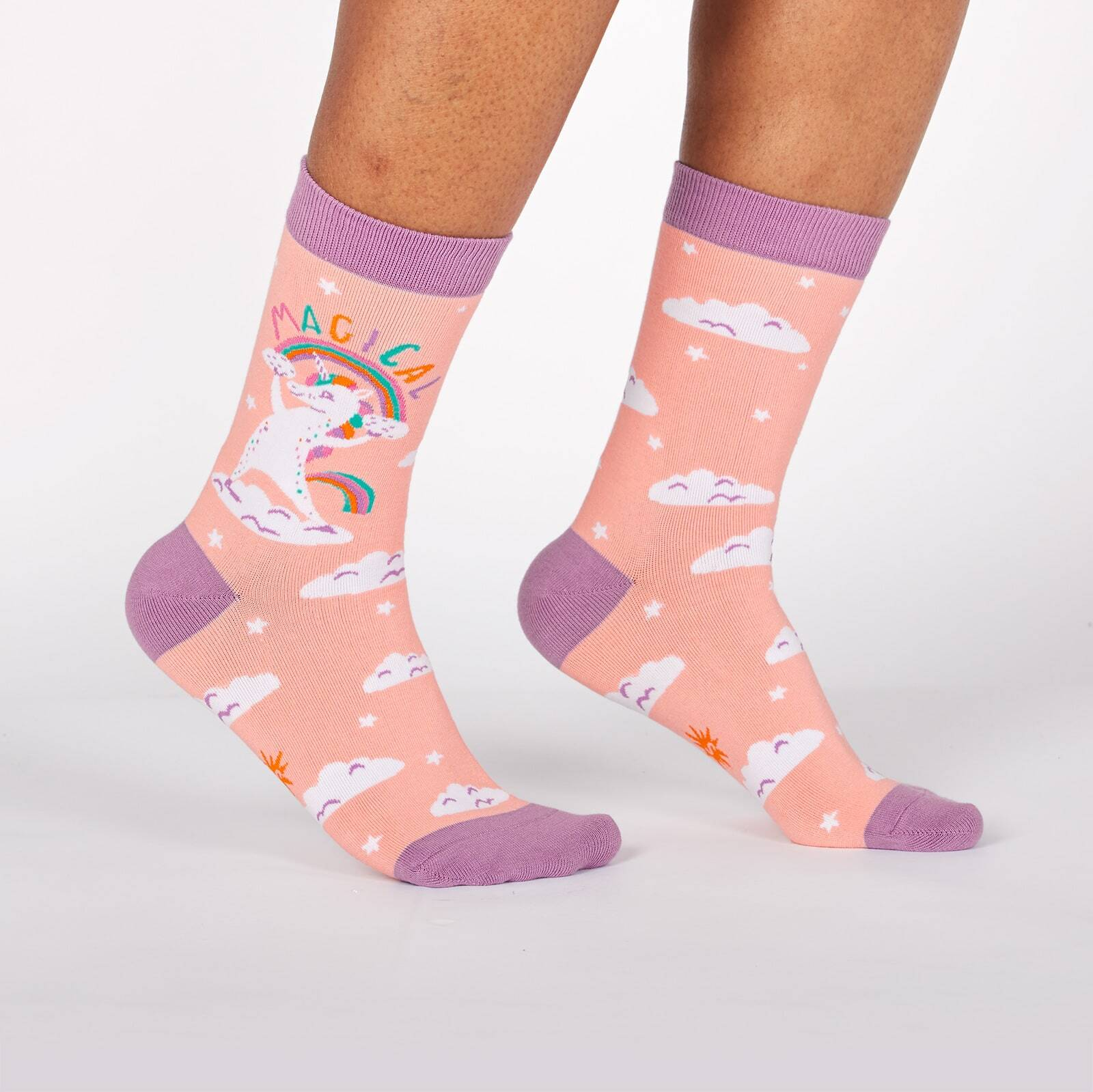 model wearing Magical - Unicorn In the Clouds Crew Socks Pink - Women's