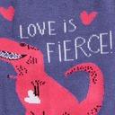 fabric detail of Love Is Fierce - T-Rex Dinosaur and Hearts Crew Socks Blue - Women's