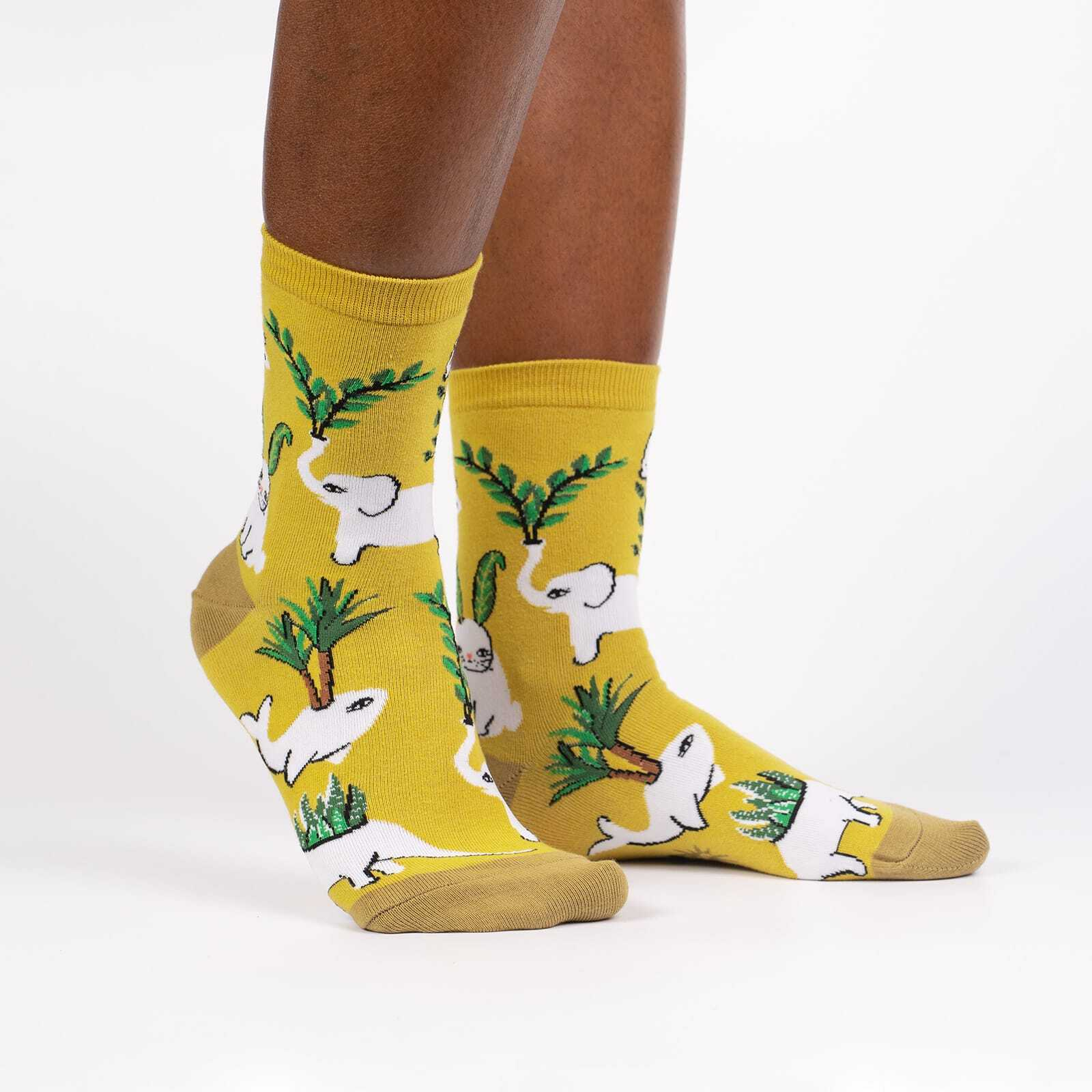 Planters Gonna Plant - Plant and Animal Lover Crew Socks Yellow - Women's in Yellow