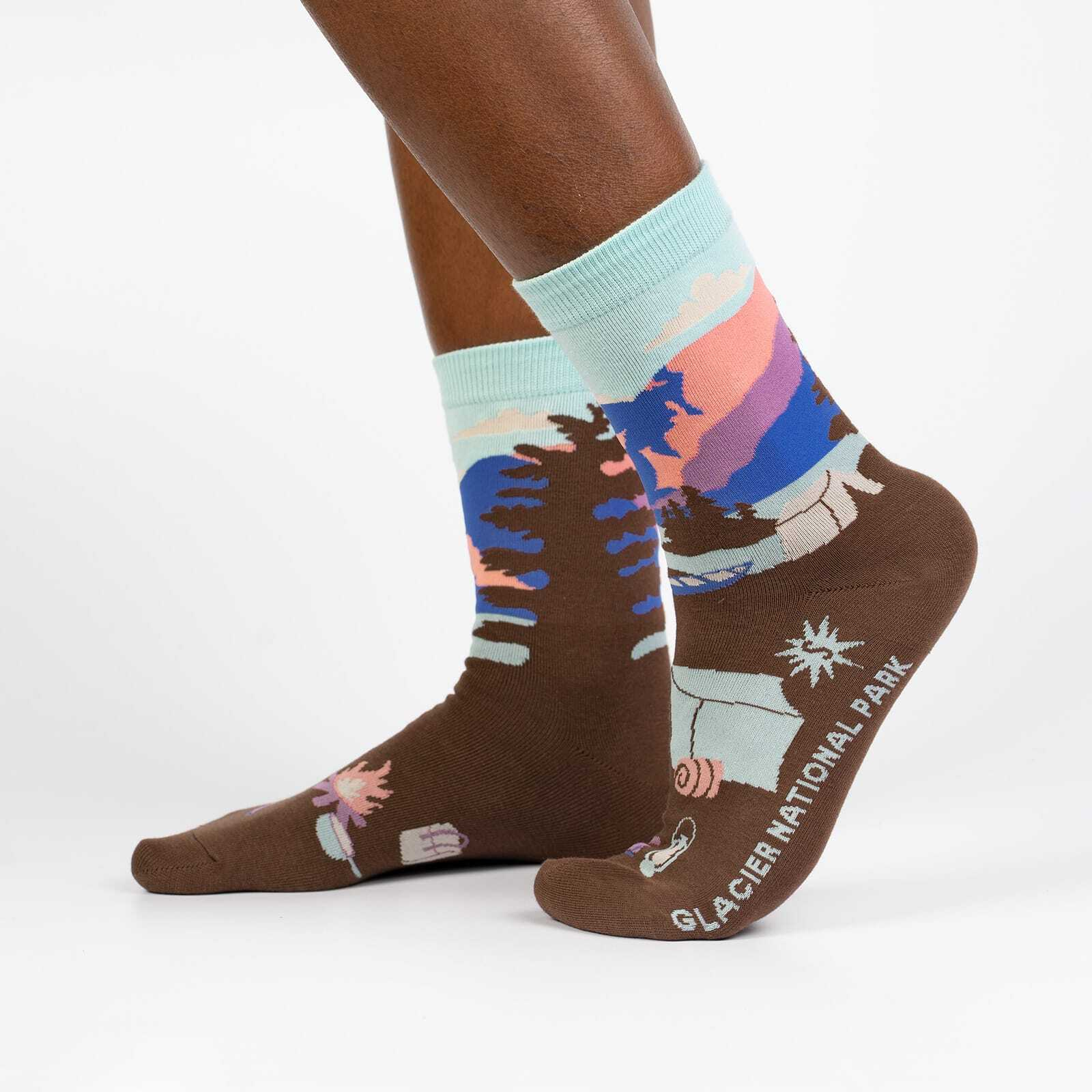 Glacier National Park - Road Trip Travel Crew Socks Brown - Women's in Brown