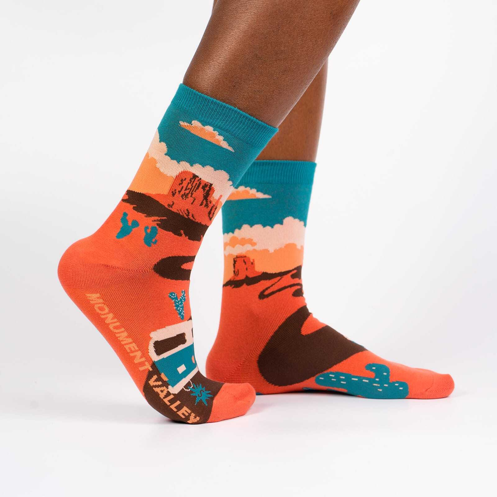 Monument Valley - Road Trip Travel Crew Socks Orange - Women's in Orange