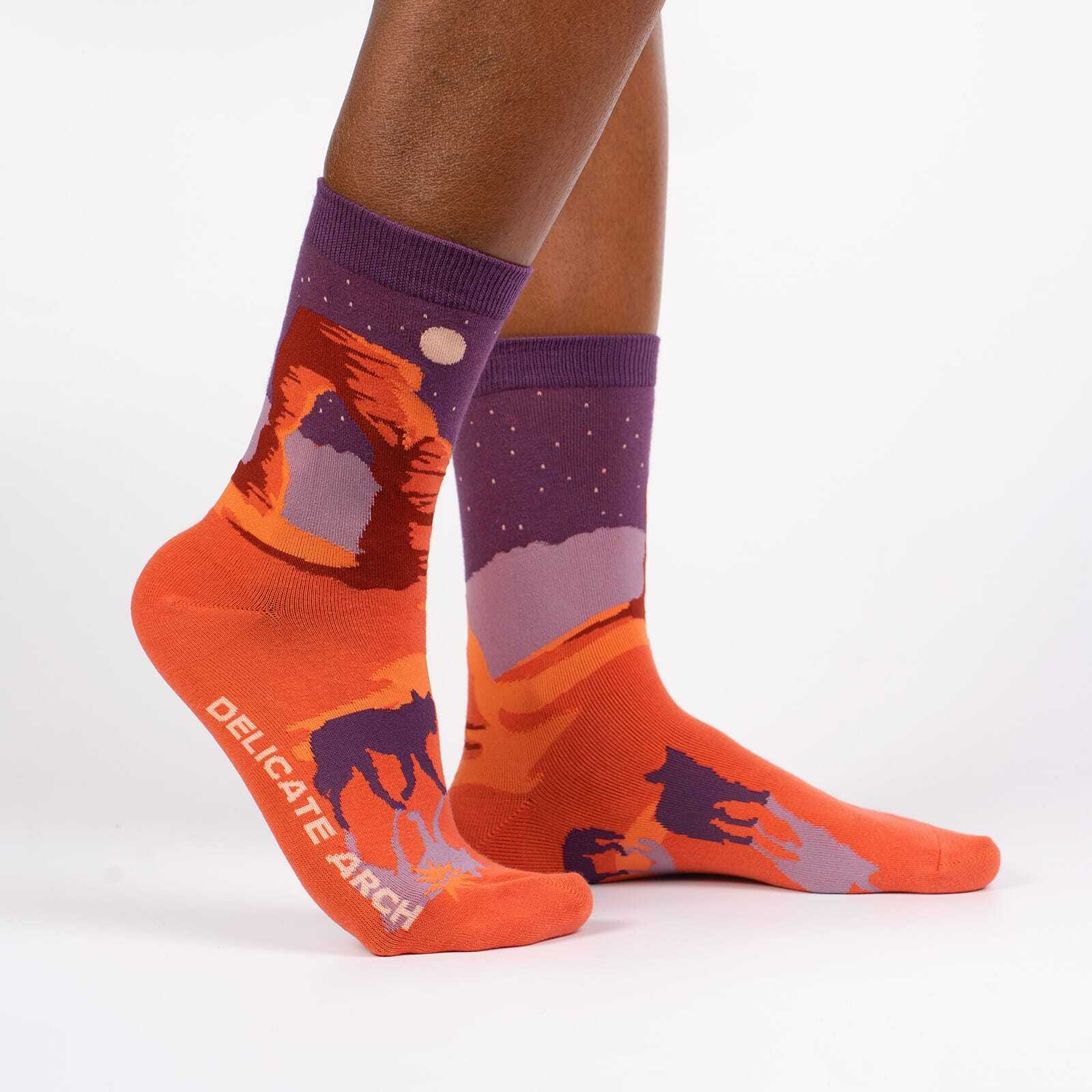 Delicate Arch - Road Trip Travel Crew Socks Orange - Women's in Orange
