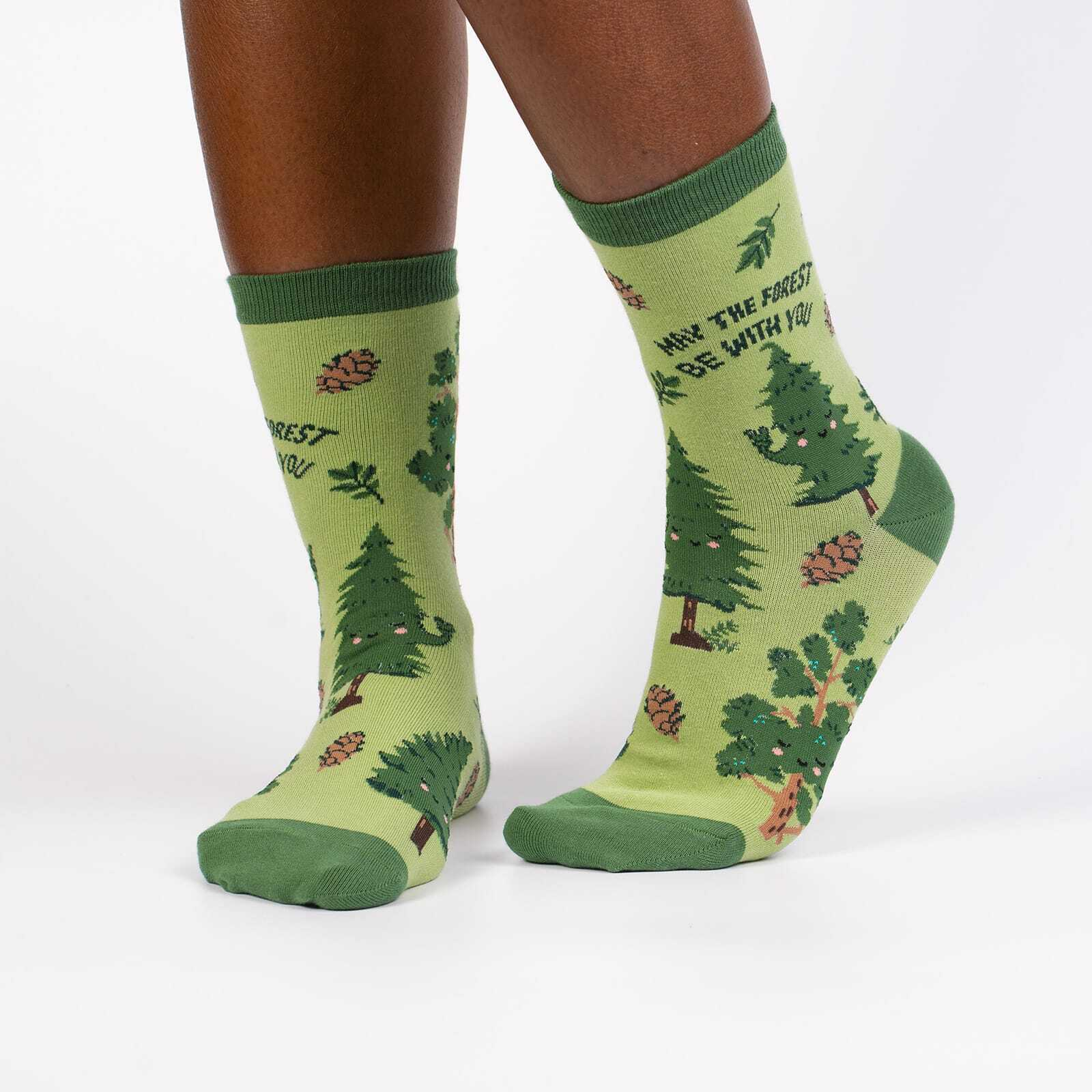 May The Forest Be With You - Nature Animal Wildlife Crew Socks Green - Women's in Green