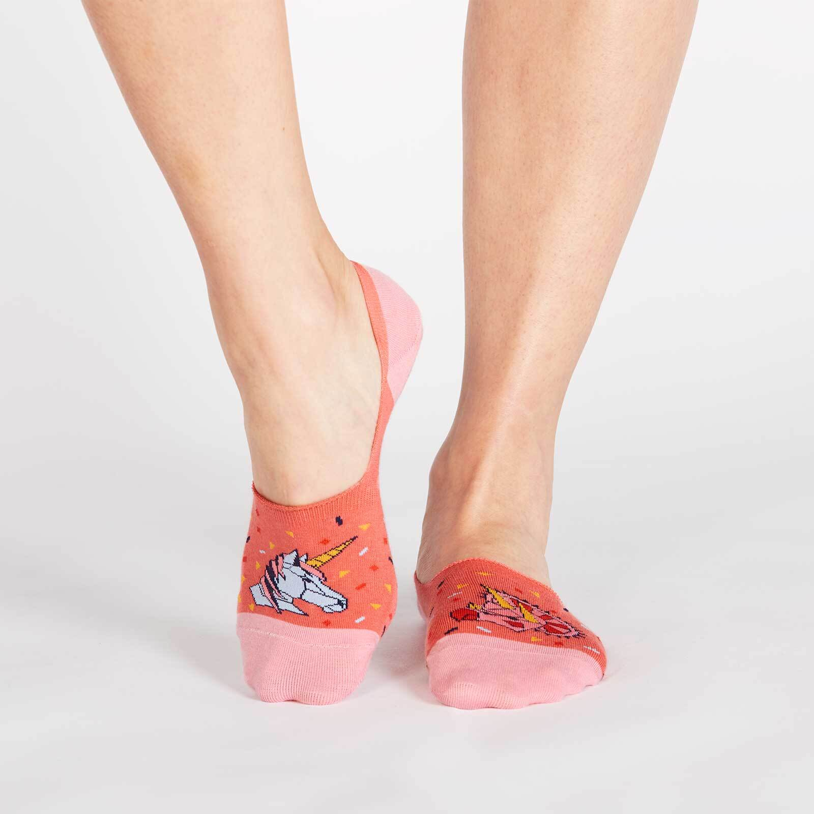 model wearing I Tip My Horn To You - Geometric Animal No Show Socks Pink - Unisex Medium