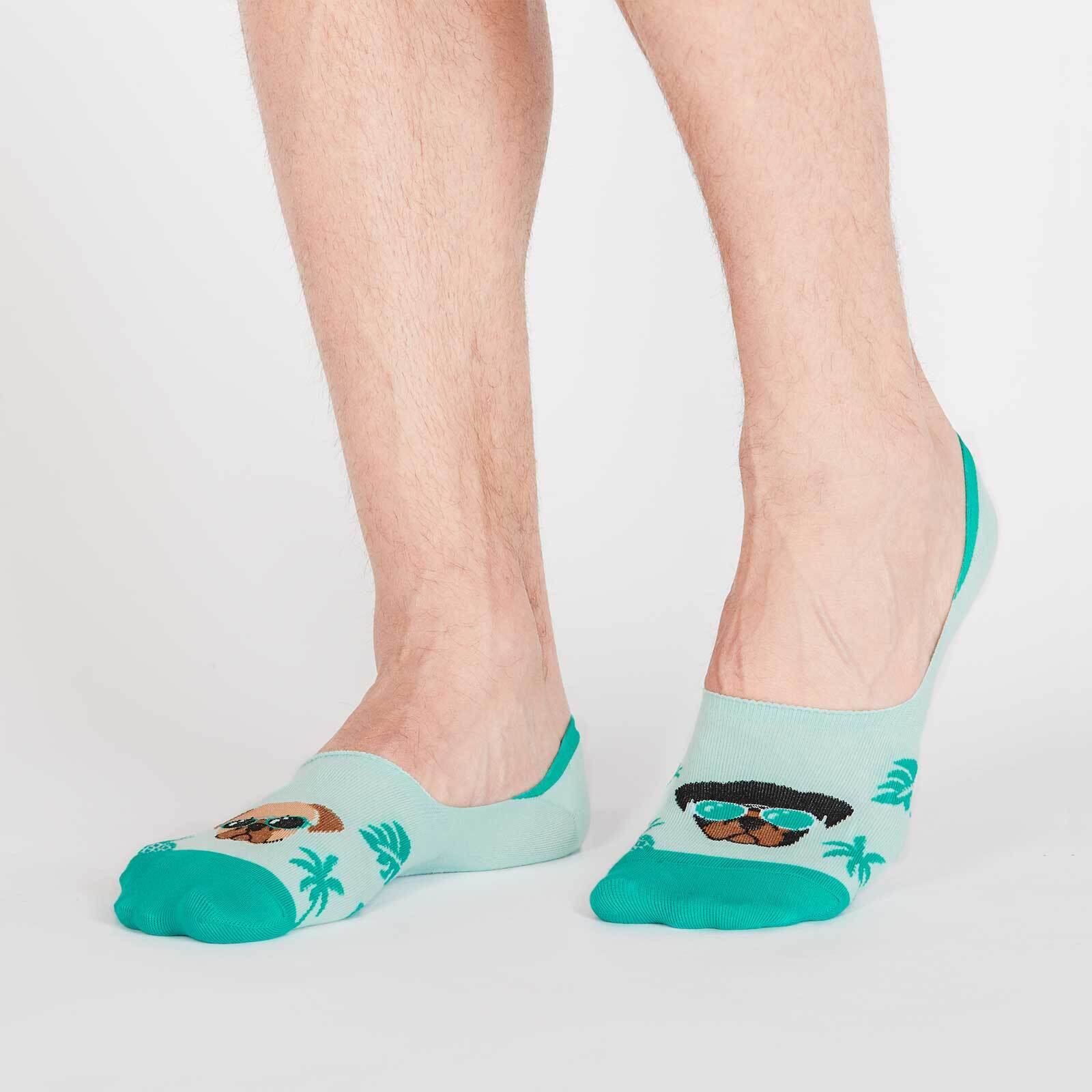 model wearing Suns Out Pugs Out - Pug No-Show Socks Teal - Unisex Large